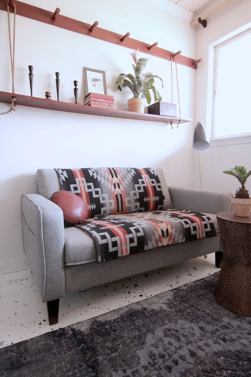Make A Diy Peg Rail Create A Killer Small Space Seating Area